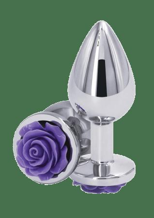 Rear Assets Silver Rose Butt Plug - Medium