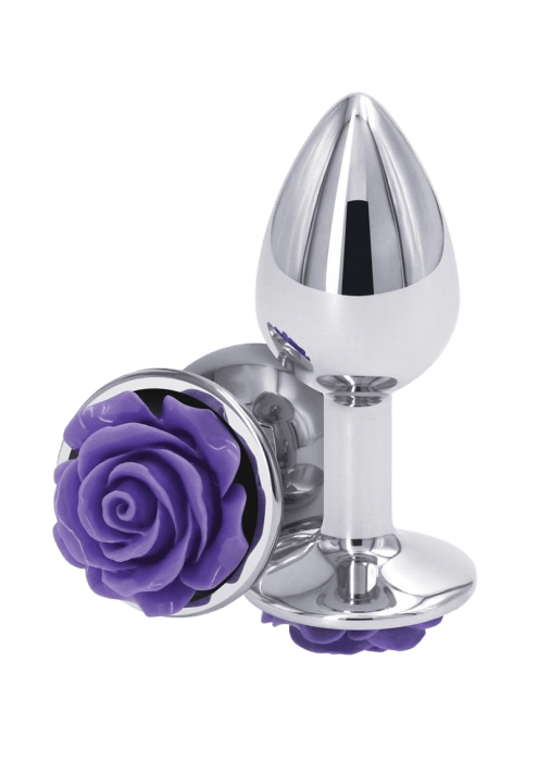 Rear Assets Silver Rose Butt Plug - Small
