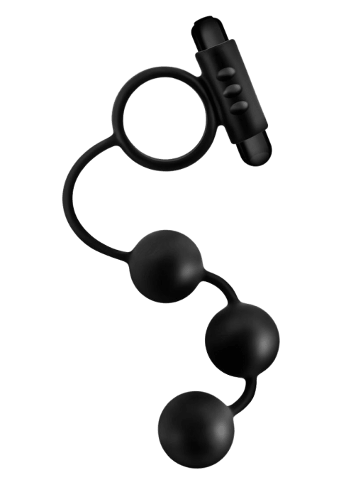 Anal Adventures Platinum Anal Beads with Vibrating C-Ring